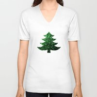 sparkles V-neck T-shirts featuring Christmas tree green sparkles by PLdesign