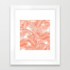 Modern blush coral simple tropical  palm tree pattern Framed Art Print