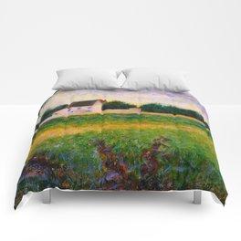 Landscape of the Ile de France Post-Impressionism landscape Oil Painting Countryside Cottages Farm Comforters