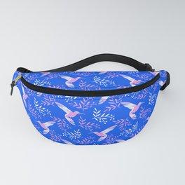 Pretty beautiful cute pink hummingbirds, delicate twigs little leaves blue pattern. Gift ideas Fanny Pack