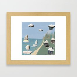 Pebble and shell coastal art watercolor mixed media Framed Art Print