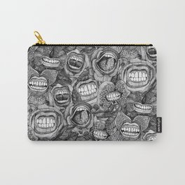 BITE ME roses and orchids BLACK WHITE Carry-All Pouch
