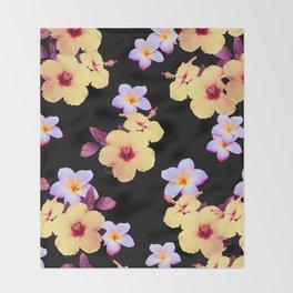 Hibiscus and Plumeria Throw Blanket