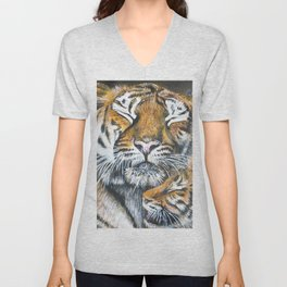 Mama Tiger with Cute Baby Unisex V-Neck