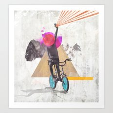 Rainbow child riding a bike Art Print