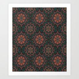 Folk Flower, Vintage Bohemian Floral Pattern Burnt Sienna Art Print
