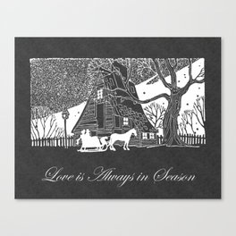 Love is Always in Season Romantic Snow Scene Chalkboard Canvas Print
