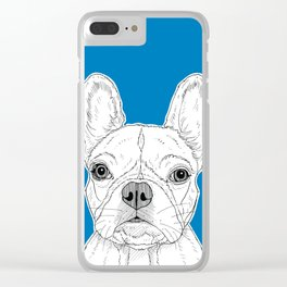 French Bulldog Portrait ( blue background ) Clear iPhone Case