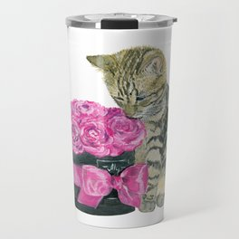 Kitty and rose bouquet Travel Mug
