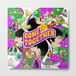 Come Together (Purple and Green) Metal Print