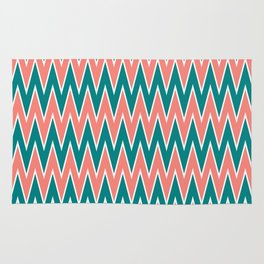 Coral Pink and Teal Zigzag Pattern Rug