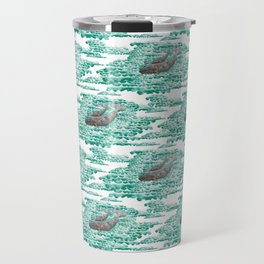 Mama + Baby Gray Whale in Ocean Clouds Travel Mug