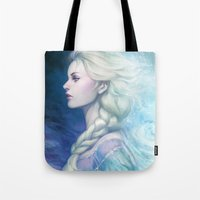 artgerm Tote Bags featuring Frozen by Artgerm™