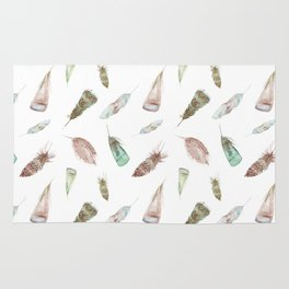 Feather collection in nature colors Rug