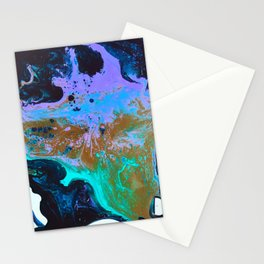 Ultra Violet Abstract Bat Painting by Noora Elkoussy Stationery Cards
