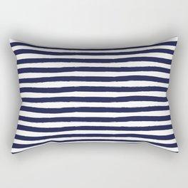 Navy Blue and White Horizontal Stripes Rectangular Pillow