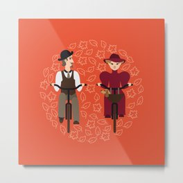 Retro cyclists Metal Print