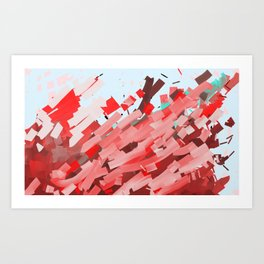 Canons of red, purple and brown ink. Art Print