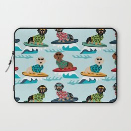 dachshund surfing dog breed pattern pet gifts Laptop Sleeve