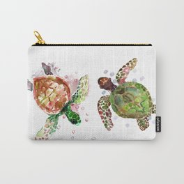 Turtles, Olive Green Cherry Colored Sea Turtles, turtle Carry-All Pouch