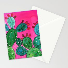 Cactus doodle - alcohol ink Stationery Cards