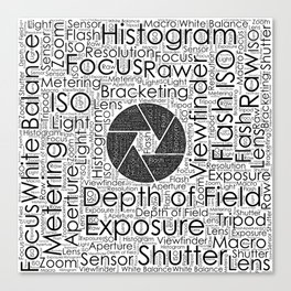 Photography Terms  Word Cloud Lens Shutter Canvas Print