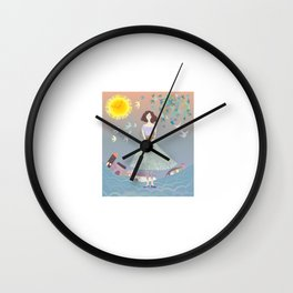 Girl with cat Wall Clock