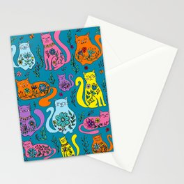 Cat Nap - Colorful floral Cats Stationery Cards