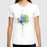 seahawks T-shirts featuring Seattle 12th Man Seahawks Rose Watercolor Painting Art by Olechka