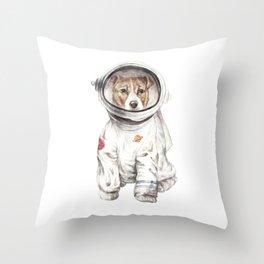 Laika Dog Watercolor Illustration Space Pup Throw Pillow