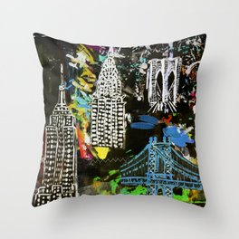 New York City Buildings at Night Throw Pillow
