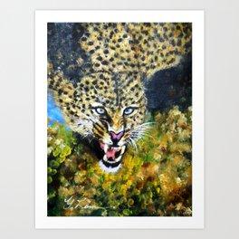 Wildlife Animal Painting Series  - Preying Leopard Art Print