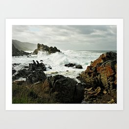 Stormy Sea Rocky Shore Cape Point, South Africa Art Print