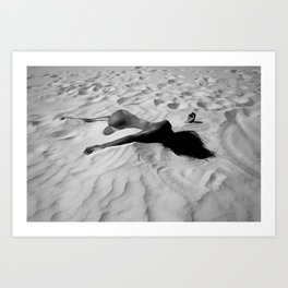 'All of Me' reclining nude brunette female form black and white photograph / art photography  Art Print