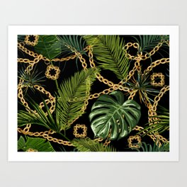 Tropical vintage Baroque pattern with golden chains, palm leaves, baroque elments on dark background. Classical luxury damask hand drawn illustration pattern. Art Print