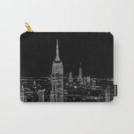 Contemporary Elegant Silver City Skyline Design Carry-All Pouch