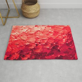 MERMAID SCALES 4 Red Vibrant Ocean Waves Splash Crimson Strawberry Summer Ombre Abstract Painting Rug