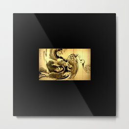 Dragon amid the waves by soga shohaku Metal Print