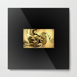 Dragon amid the waves by soga shohaku Metal Print