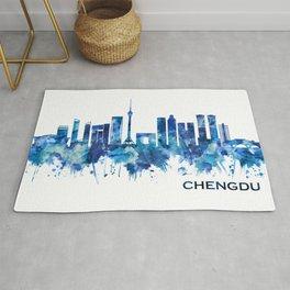 Chengdu China Skyline Blue Rug