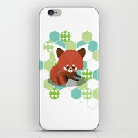 red panda iPhone & iPod Skins featuring Red Panda by Steph Dillon