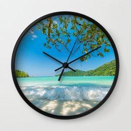 tropical island ocean summer travel palms seascape azure blue Lagoon Wall Clock