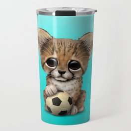 Cheetah Cub With Football Soccer Ball Travel Mug