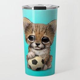 Cheetah Cub With Football Soccer Ball Travel Mug