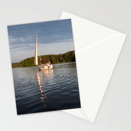 white boat sailing view Stationery Cards