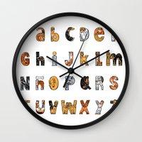 font Wall Clocks featuring Perruna Font / Dog font by oyemathias