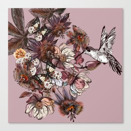 Tropical design with exotic flowers and hummingbird Canvas Print