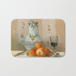 Camille Pissarro - Still Life with Apples and Pitcher,1872 Bath Mat