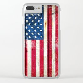 Vintage American Flag On Old Barn Wood Clear iPhone Case