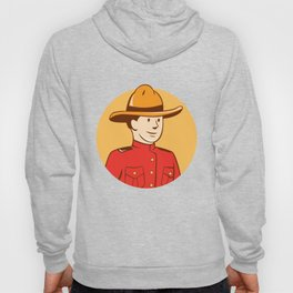Mounted Police Officer Bust Circle Cartoon Hoody